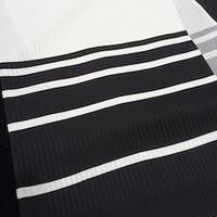 朱音屋オリジナル帯揚 barrystripe  黒×プラチナ