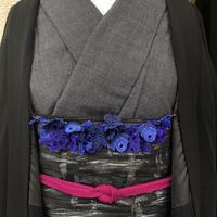 【トルコのオヤ糸屋さん】 フラワーガーデンブレスレット羽織紐・ブルーブルー・Sカンつき