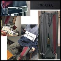 18SS★PRADA プラダ contrasting band pants ブランドロゴ 裾テープベルト デザイン パンツ ジョガーパンツ 46