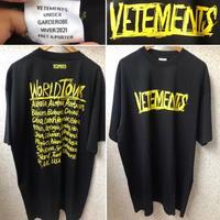 新品★VETEMENTS ヴェトモン ブランドロゴ world tour Tシャツ オーバー サイズ Mサイズ 黒