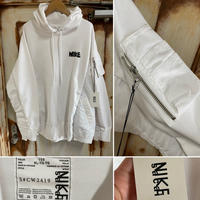 新品タグ付★sacai サカイ ×NIKE ナイキ Hoodie MA-1 ボンバージャケット切り替えし スウェットパーカー 白 XL