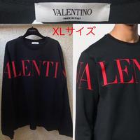 新品★19AW★VALENTINO ヴァレンチ ブランドロゴプリント クルーネック オーバーサイズ スウェット XL ブラック