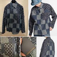貴重Sサイズ新品Louis Vuitton Nigo ルイヴィトン コラボ ジャイアント ダミエ ウェーブス モノグラム デニムシャツ ネルシャツ oversized