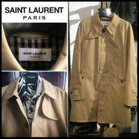 貴重!SAINT LAURENT サンローラン パリ ステンカラー トレンチ コート 48サイズ エディ期 初期