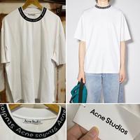 新品 ACNE STUDIOS  アクネ ストゥディオス ネックブランドロゴ ロゴバインディング Tシャツ  ホワイト