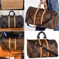 新品 Louis Vuitton NIgo ルイヴィトン コラボ ジャイアント ダミエ ウェーブス モノグラム NIGO コラボ ショルダーバッグ キーポル50