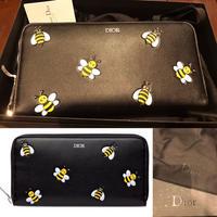 新品★2019AW★DIOR ディオール DIOR X KAWS ZIPPED ウォレット Bee 鉢モチーフ 長財布