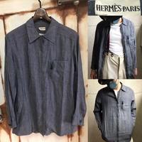 レア!HERMES エルメス マルジェラ期 リネン ジップアップジャケット linen zip up shirt 36