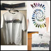 Lサイズ★新品★LOUIS VUITTON ルイヴィトン 19SS ブランドロゴ 刺繍 プリントTシャツ Virgil Abloh ホワイト