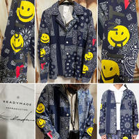 新品タグ付 READYMADE レディメイド ヴィンテージバンダナ 再構築 テーラードジャケット スマイル シャツジャケット