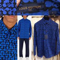 新品タグ付★19AW★Louis Vuitton ブランドロゴ モノグラム 総柄 オーバーサイズ シャツ Sサイズ