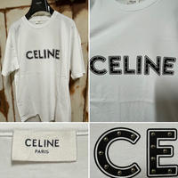 新品★21SS★CELINE Hedi Simane セリーヌ ブランドロゴ スタッズ付き ルーズ Tシャツ ホワイト