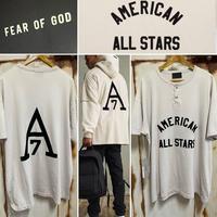 新品タグ付 Fear of God American all stars 7th collection フィアオブゴッド フロッキー ビンテージ加工 ヘンリーTシャツ