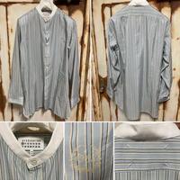 新品タグ付★Maison Margiela メゾンマルジェラ ノーカラーシャツ ブルー ストライプシャツ 1988 40サイズ
