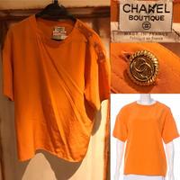CHANEL シャネル 肩金ボタン シルク クルーネック Tシャツ 40