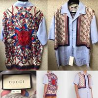 新品タグ付きGUCCI  グッチ ライオン&GGプリント シルクパネル コットン 半袖シャツ