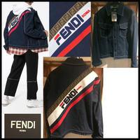 新作★FENDI× FILA モノグラム ブランドロゴ バックロゴ デニムジャケット フェンディマニア