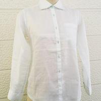 ざっくりなシャツ長袖 滋賀麻工業のラミー100% レディスM