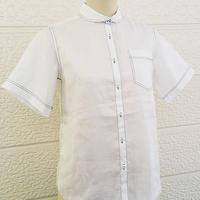 ざっくりなシャツ半袖 滋賀麻工業のラミー100% レディスM