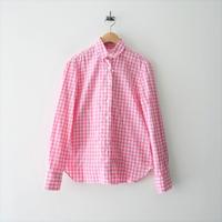 未使用 / Finamore / シワ加工ギンガムチェックシャツ /  2104-1786