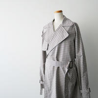 2019SS未使用 / AURALEE  /  FIX WEATHER CLOTH CHECK BIG TRENCH COAT 1904-0038