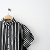 2021SS  / GRANDMA MAMA DAUGHTER / リネンストライプラウンドカラーH/Sシャツ /  2107-0734