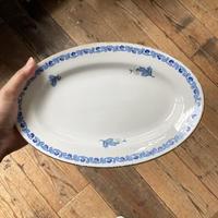 arabia  oval plate blue flower