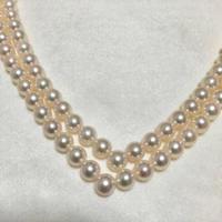 【アコヤ本真珠】本真珠 天然 パール 二連 V字 ネックレス 未使用品