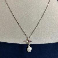 【ルビー】バロック真珠 天然 パール 本真珠 シルバー デザインネックレス 本物