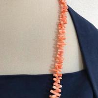【本珊瑚】珊瑚 サンゴ さんご ボリューム ロング ネックレス 本物 シルバー
