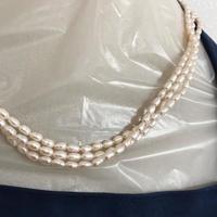 【淡水パール】三連 ネックレス 天然 パール 本真珠 留め具 シルバー 本物