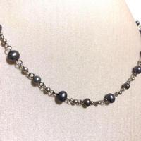 【黒真珠】本真珠 天然 パール ネックレス チョーカー シルバー製 本物