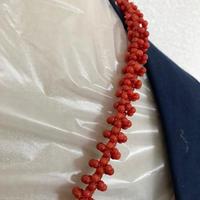 【赤珊瑚】本珊瑚 日本産 天然 サンゴ 丸珠 ネックレス 本物 留め具 シルバー