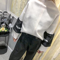 fur slleve  tops(white)