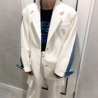 denim × leather oversize jacket