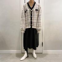 tweed × pleats onepiece (white)