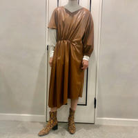 asymmetry leather onepiece (brown)