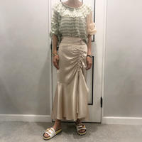 shirring satin long skirt