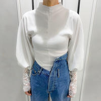 volume lace sleeve tops (white)