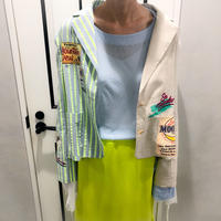unique design linen jacket (lime × beige)