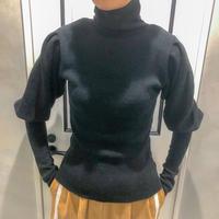 puff sleeve turtle neck knit (black)