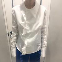 big frill shirring shirt (white)