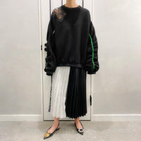 check × pleats  × leather skirt