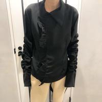 big frill shirring shirt (black)