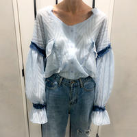 chiffon × tweed denim shirt