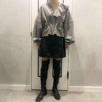 pocket fake leather skirt