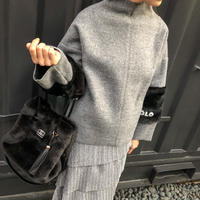 fur slleve  tops(grey)