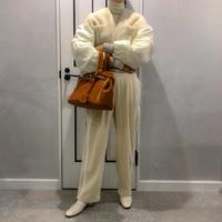 side line corduroy wide pants (white)