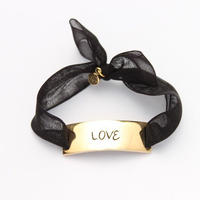 "Charm Bracelet ""Love"" - Gold - Organdy ribbon"