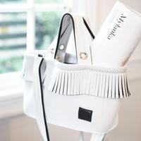 LozzSandra/fringe tote bag(オールホワイト)